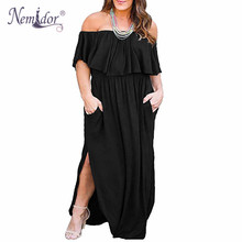 Nemidor Women Upper Flounce Layer Off The Shoulder Party Long Dress Vintage Loose Pockets Plus Size 7XL 8XL 9XL Split Maxi Dress все цены