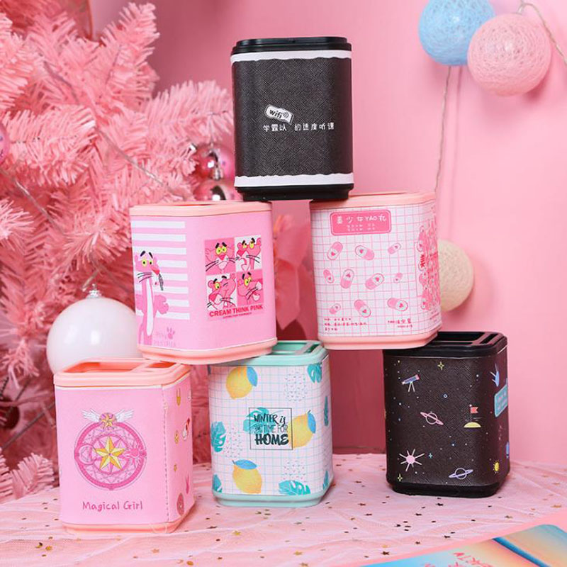 1 Pcs Kawaii Pink Panther Magic Sakura Starry Sky Leaves Lemon Stationery Desk Organizer Manage Case Pencil Pen Holders Stand