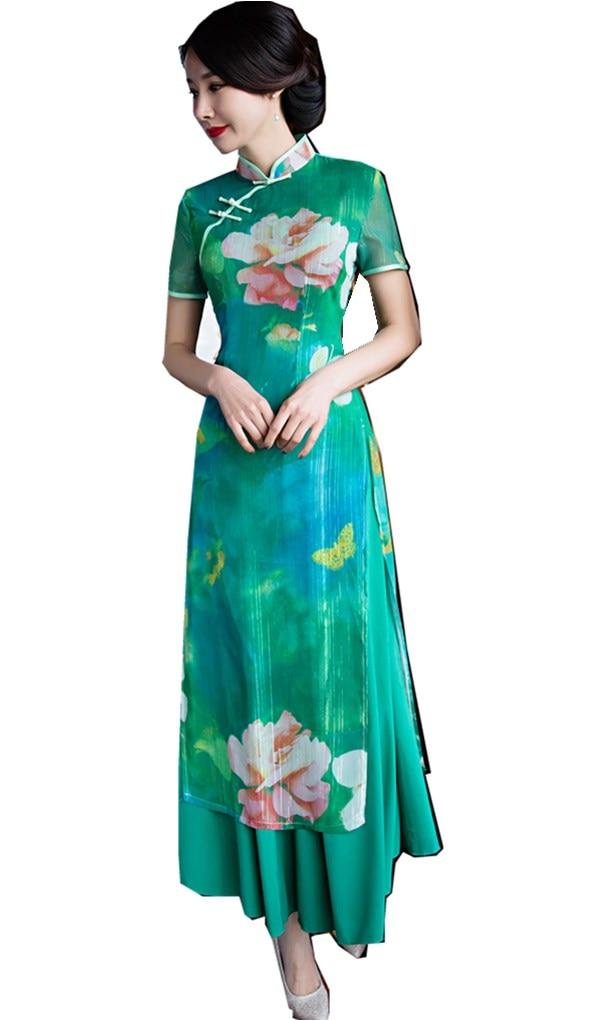 Shanghai Story Flower Print Vietnamese ao dai traditional Clothing qipao long Chinese cheongsam dress modern Qipao