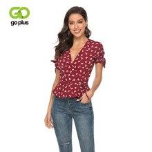 GOPLUS Elegant Floral Print Chiffon Blouses Women Sexy V Neck Bow tie Ruffles Shirts Ladies 2019 Summer Casual Street top Female