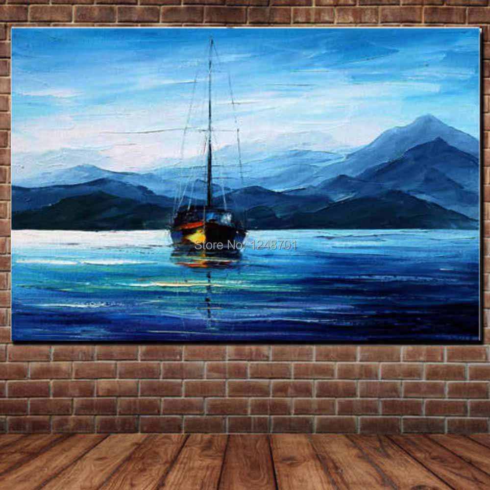 Hand Painted Abstract Canvas Art Impasto Palette Knife Seascape Oil Painting Sea Boat Wall Picture Living Room Home Wall Decor