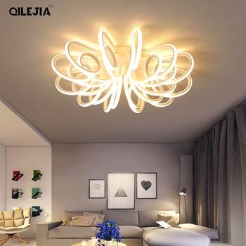 Светодиодная потолочная лампа для гостиной, Современная осветительная лампа с плафоном, с пультом дистанционного управления, для спальни, ...