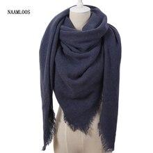 Bufanda mujer Cachemira de marca de lujo de moda, Color sólido, chales y envoltorios cuadrados de invierno, mantas de gran tamaño, Foulard, Dropshipping