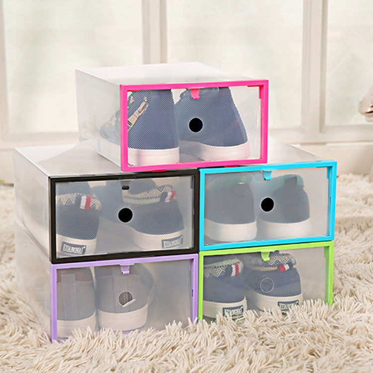 Foldable Stackable Clear Plastic Drawer Shoe Storage Boxes Organizer Holder  Bulk(China)