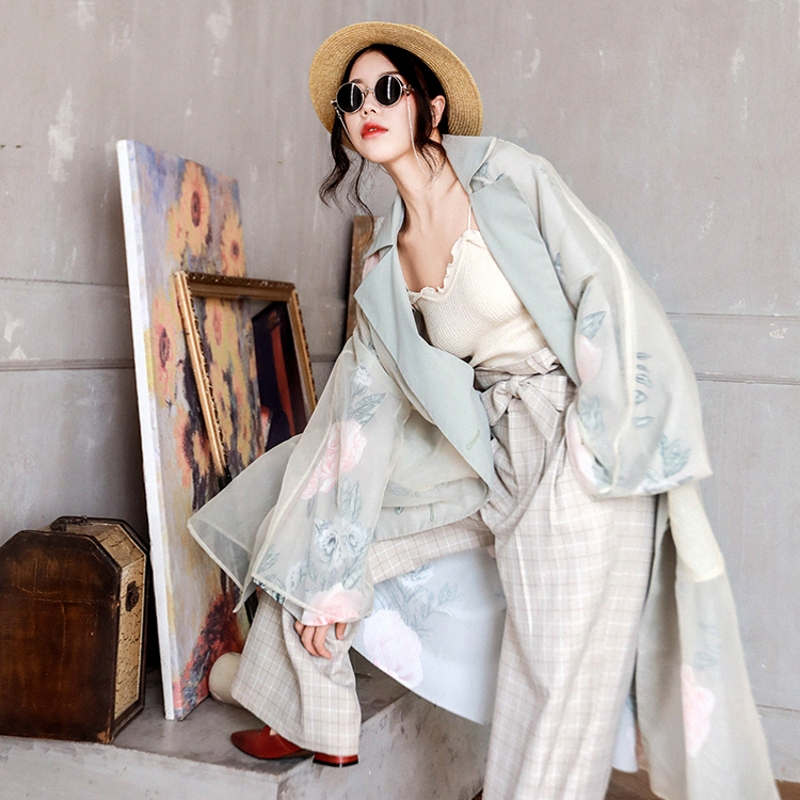 IRINAY318 2019 Spring New Collection Long Vintage Organza Women Trench Coat