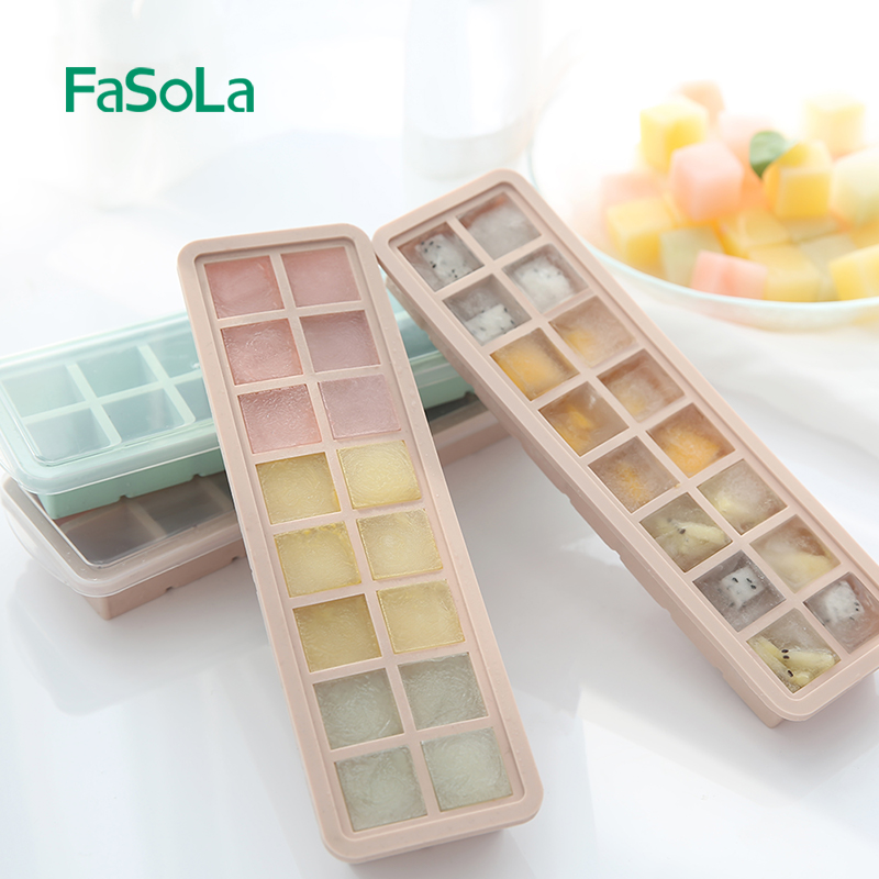 Fasola 20 grid Food grade silicone Ice Cube Tray Mini Ice Cubes Small Square Mold Ice Maker With cover New 6 Color Japanese