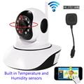 720 P 1080 P HD Câmera IP sem fio WiFi Dome IR Cut Noite Registro SD CCTV Onvif P2P Monitor Do Bebê De Áudio Temperatura sensores de umidade