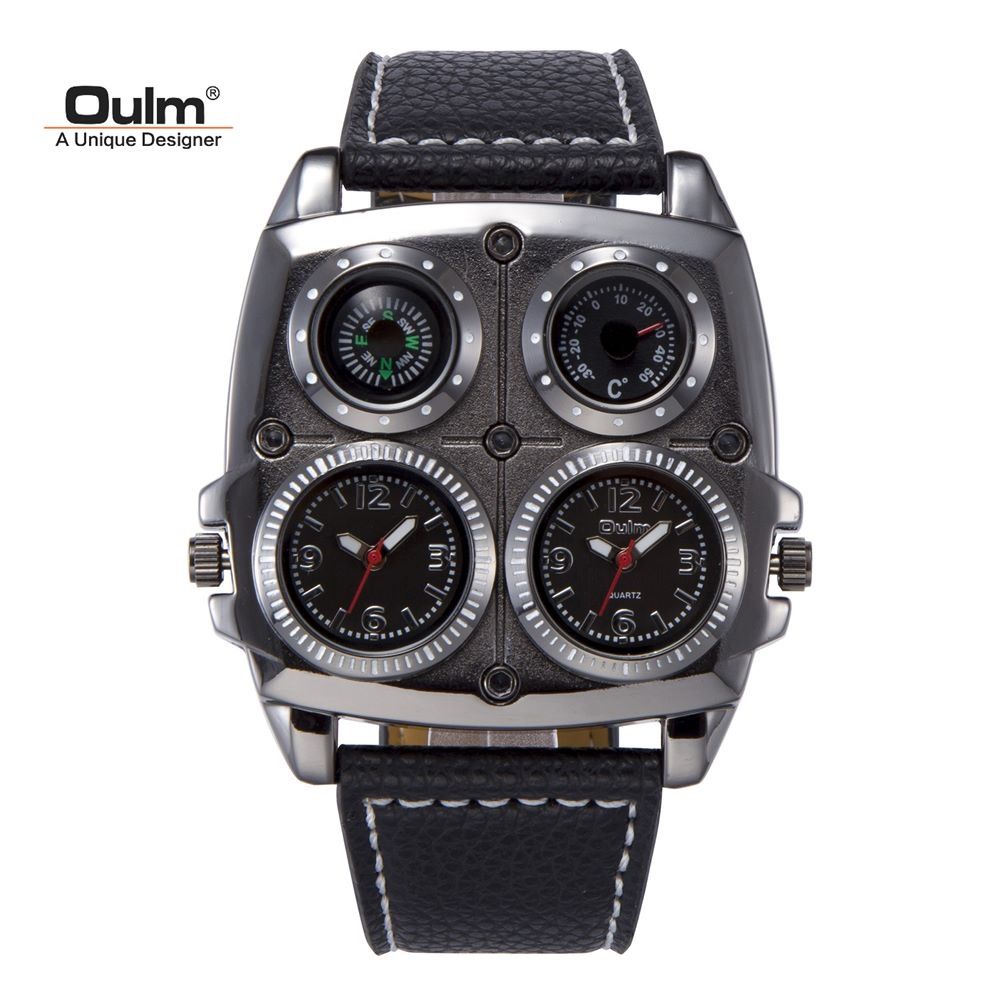 TEAROKE Dual Movement Men Watch OULM Sport Quartz Wristwatch Leather Strap Compass Thermometer 2 Time Zone Military Casual Men thermometer watch compass watch two time zone display dual movt quartz watch for men oulm 1349