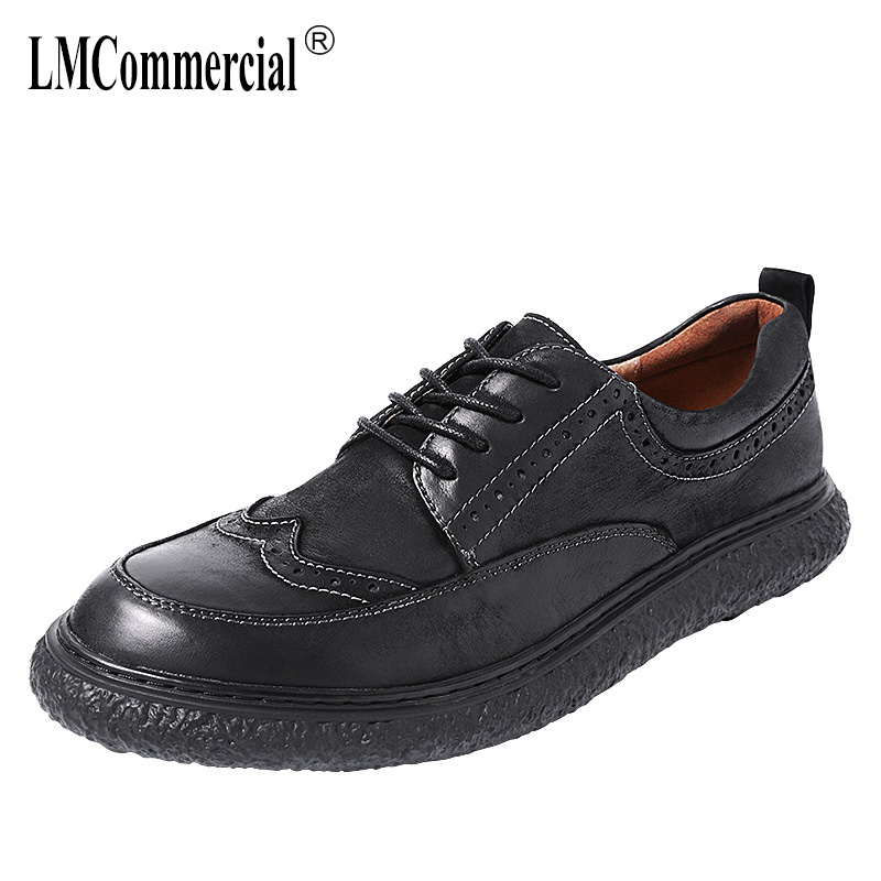 Inverness retro mens shoe Tide shoes 2019 Spring New Brock Leather shoes male leather strap business casual shoesInverness retro mens shoe Tide shoes 2019 Spring New Brock Leather shoes male leather strap business casual shoes