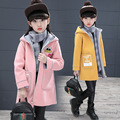 OLEKID 2017 New Fashion Jacket For Girls Letter Heart-shaped Prints Girls Coat Spring Autumn Hooded Long Lambswool Girls Jacket