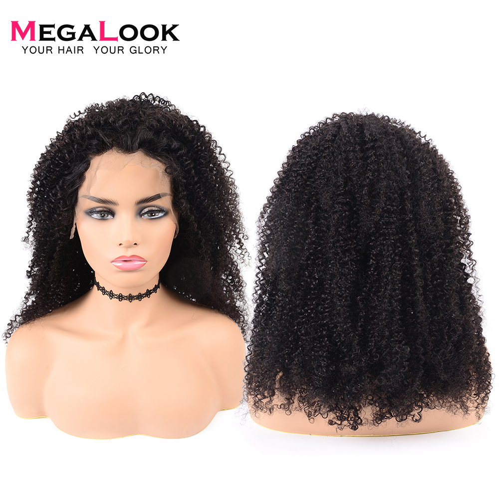 Megalook Peruvian Kinky Curly Lace Front Human Hair Wigs With Baby Hair Natural Color Remy Hair