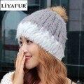 Liyafur marca malha de pele de coelho das mulheres do inverno russo ouvido coberto chapéu tampas de chapéus de pele de coelho com pele de guaxinim naturais bola