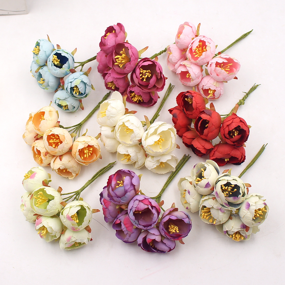 6Pcs Artificial Flowers Mini Tea Rose Bud For Wedding Home Decoration Jewelry Accessories Fleurs Scrapbooking DIY Craft Supplies