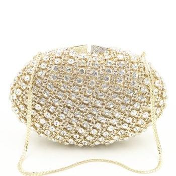 Women gold/silver/champagne/black/grey Crystal Clutch Evening shoulder Bags Bridal small wallet Purse Wedding Party Prom Handbag