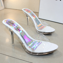 Sandalias de tacón alto para mujer, zapatos Sexy de verano, sandalias de arrastre transparentes de cristal impermeables, sandalias gruesas con cabeza de pez
