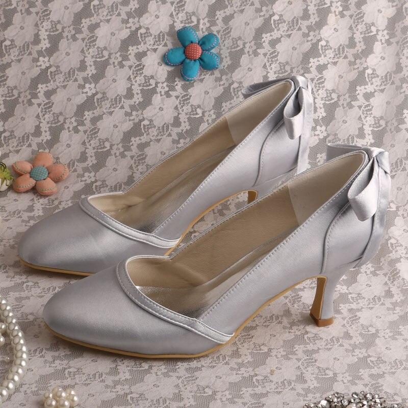 47f1217103f4 Wedopus Kitten Heel Evening Wedding Shoes Women Dark Blue Satin Closed Toe  Pumps -in Women s Pumps from Shoes on Aliexpress.com