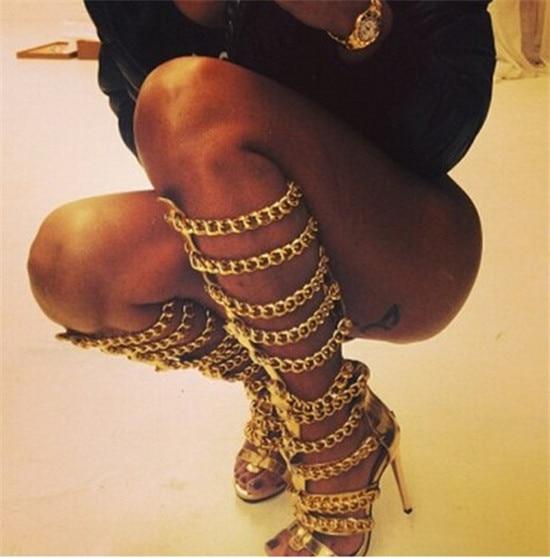 Sexy Golden Chains Women Knee High Boots Designer Leather Thin High Heels Gladiator Sandals Women Summer Boots Shoes Woman Botas (8)