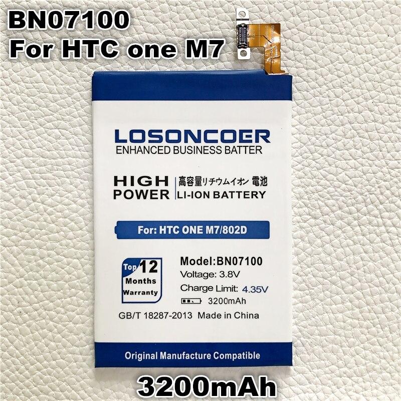 imágenes para Losoncoer bn07100 3100 mah batería de repuesto para htc one m7 nuevo uno m7 801n 801e 802d 802 t 802 w 801 s batería