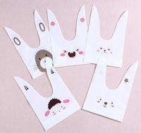 50pcs Pack Cute Rabbit Ear Cookie Bags Self Adhesive Plastic Bags For Biscuits Snack Baking Package