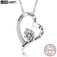 Te amo a La Luna y Volver Cadena Collar Plata de Ley 925 Del Corazón Colgante Collar Nombre Personalizado Mejor regalo de Cumpleaños regalo