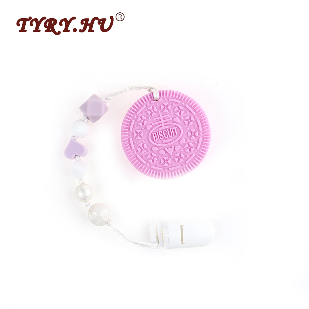 TYRY.HU Baby Feeding Pacifier Chain 1Pc Food Grade Baby Teether Necklace Pendant Chewable Silicone Cookie Teether Nursing Gifts