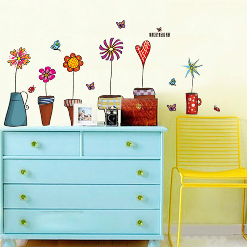 3d Wallpaper Colorful Potted Flowers Cartoon Cute Boy Girl Room