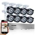 Zosi 8ch e-mail alerta kits de vigilância 1080 p hd-tvi dvr 8 pcs 2.0mp câmera de segurança da visão nocturna do ir sistema de vídeo de cftv