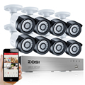 Zosi alertas de correo electrónico kits de vigilancia 8ch 1080 p hd tvi dvr 8 unids 2.0mp ir de visión nocturna cámara de seguridad de vídeo del sistema cctv