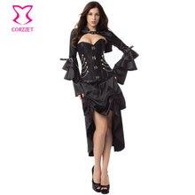 Черный Викторианский корсеты и бюстье сталь Bone стимпанк корсет платье сексуальный готический костюмы для женщин бурлеск платье с курткой