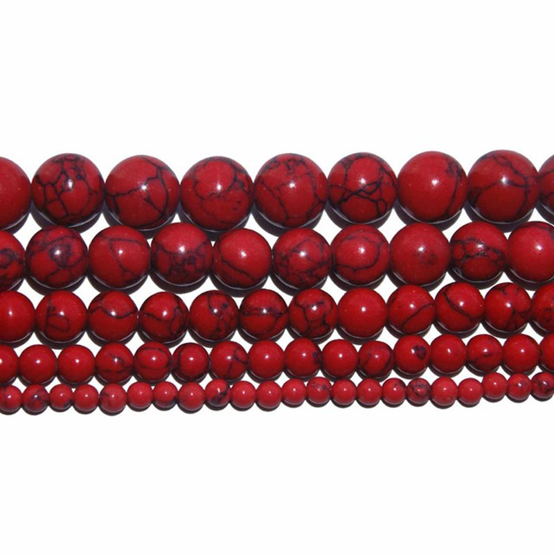 15 quot Strand Round Synthetic Stone Red Turquoises Loose Beads For Jewelry Making Charm Bracelet Neck 4 6 8 10 12mm in Beads from Jewelry amp Accessories