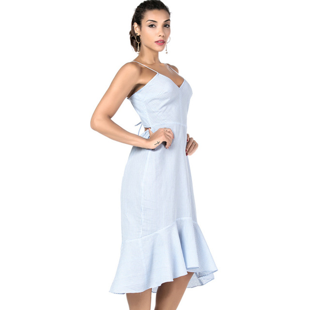 Soulmate 2018 Woman Summer Bandage Striped Beach Midi Dress Trumpet