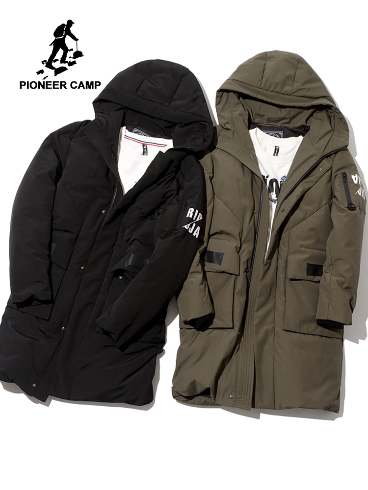 Pioneer Camp waterproof long thick   down   jacket men brand clothing hooded winter white duck   down     coat   male black green AYR705252