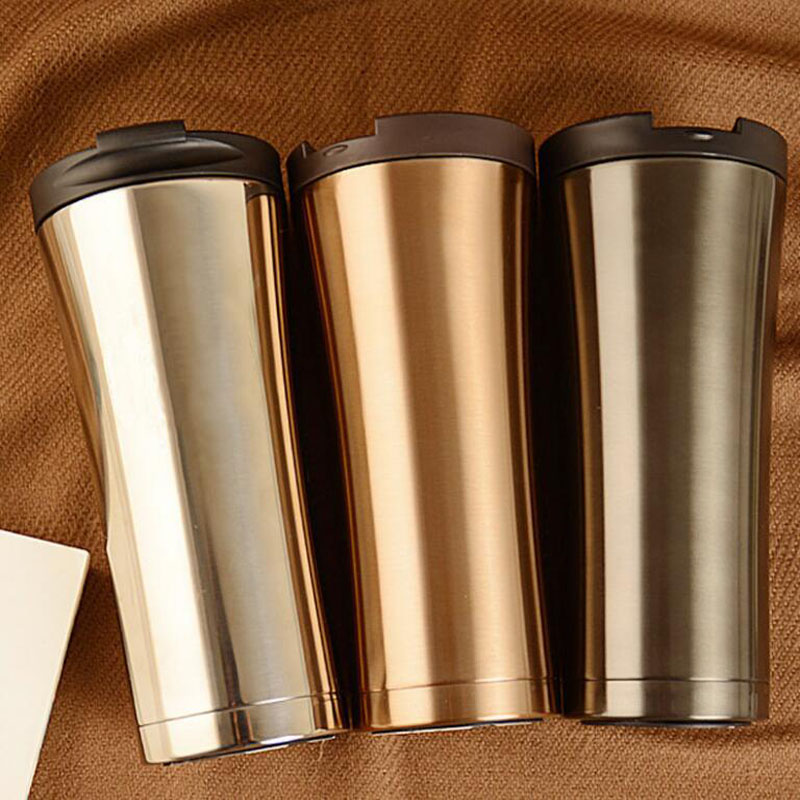 Hot Sale Double Wall Stainless Steel Coffee Thermos Cup Mugs Thermal Bottle 500ml Thermocup Fashion Vacuum Flask Cups Coffee Cup