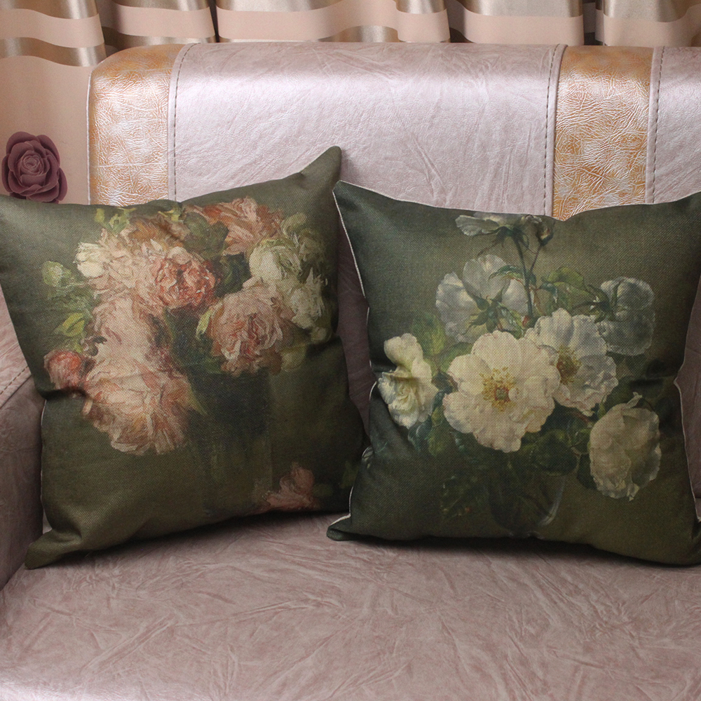 Curcya vintage flower oil painting printed decorative sofa cushion covers square linen throw pillow cases 45x45cm