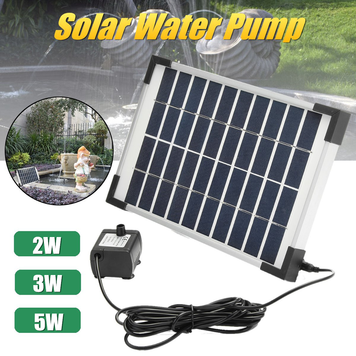 2019 New Style Solar Water Pump Power Panel Kit Garden Plants Watering Power Fountain Pool Submersible Fountain Pond Garden Outdoor Decor An Enriches And Nutrient For The Liver And Kidney