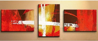 3 Panel Wall Painting Modern Home Decorativos Art Handpainted Abstract Oil Paintings On Canvas Handmade Red