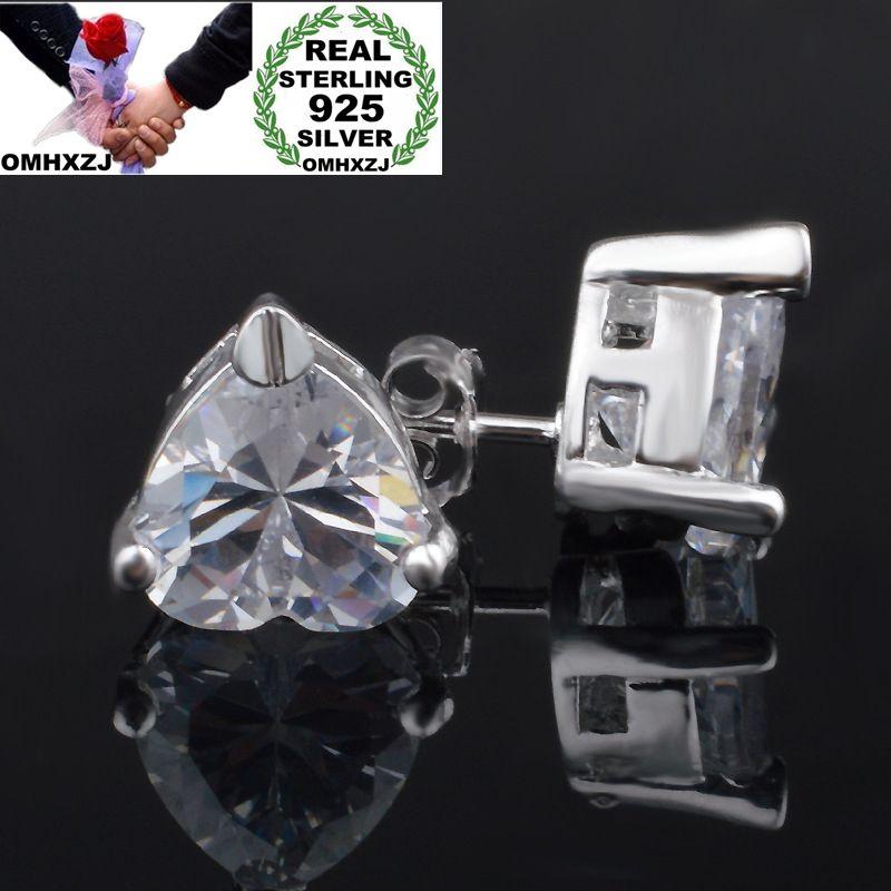 OMHXZJ Wholesale Personality Fashion OL Woman Girl Party Wedding Silver Heart Zircon 925 Sterling Silver Stud Earrings YE487