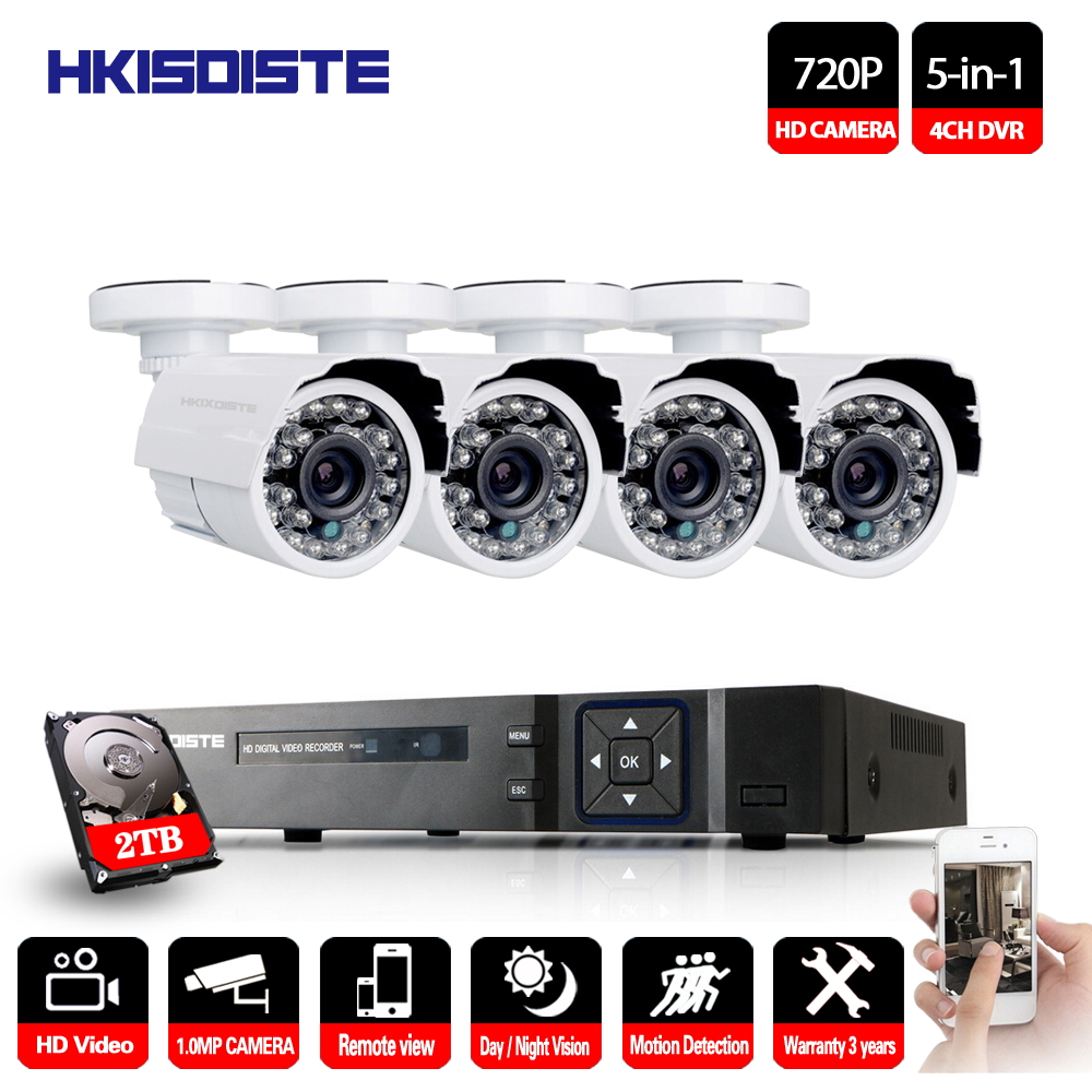 4CH 5IN1 1080P DVR Recorder CCTV 720P Outdoor Camera Home Security System Motion