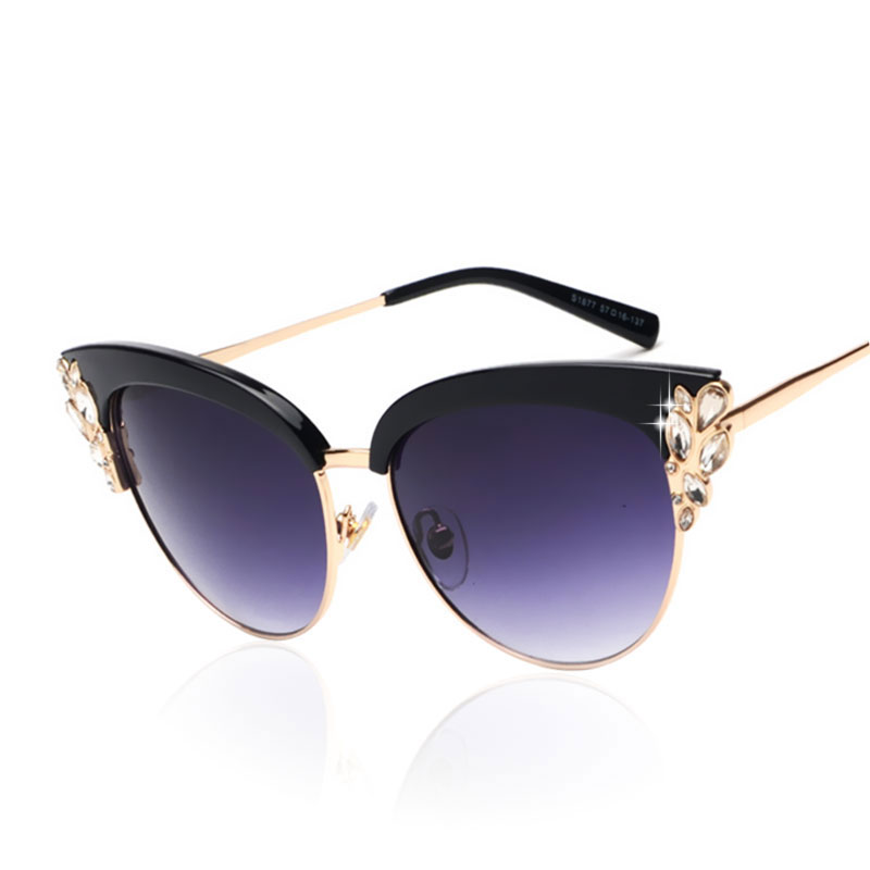 Women Sunglasses Cat Eye 2016 New Fashion Diamond Vitange Brand Designer Female Gradient UV400 Mirror
