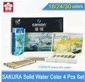 Sakura pintura de cor de água sólida 18/24/30 cores define, cor de água sólida + caneta agulha + escova de água + papel de aguarela com presente