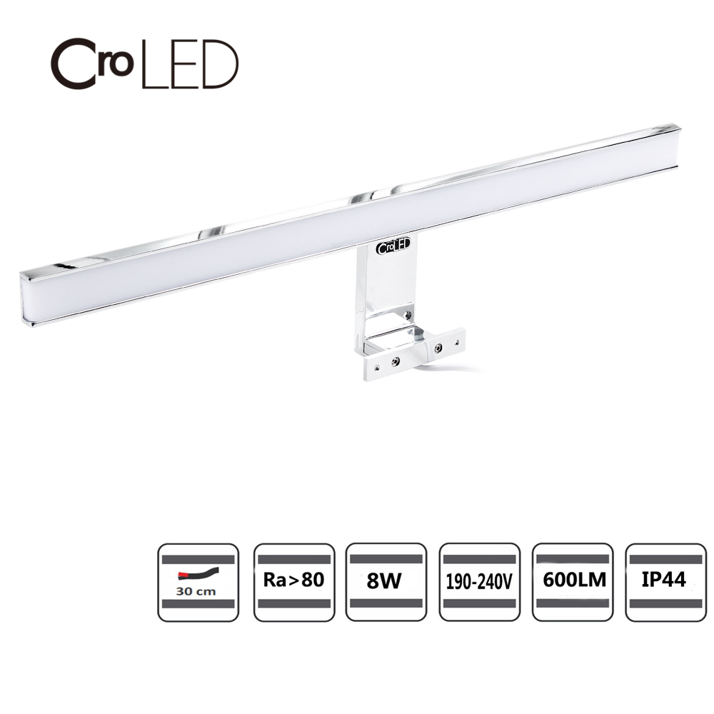 CroLED Wall Lamp Waterproof Bathroom Fixtures Makeup Toilet bar Led Light 8W 600LM Front Mirror Lighting IP44 Warm/Cold WhiteCroLED Wall Lamp Waterproof Bathroom Fixtures Makeup Toilet bar Led Light 8W 600LM Front Mirror Lighting IP44 Warm/Cold White