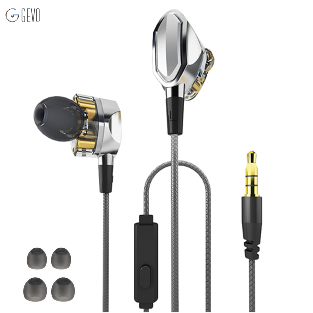 GEVO G2 In-ear Earphone Dual Dynamic Drivers Earphones with Microphone Noise Reduction High Fidelity Earbuds Sport Sweat-proof 100% original xiaomi mi hybrid dual drivers earphone wired control microphone dynamic and two balanced armature drivers