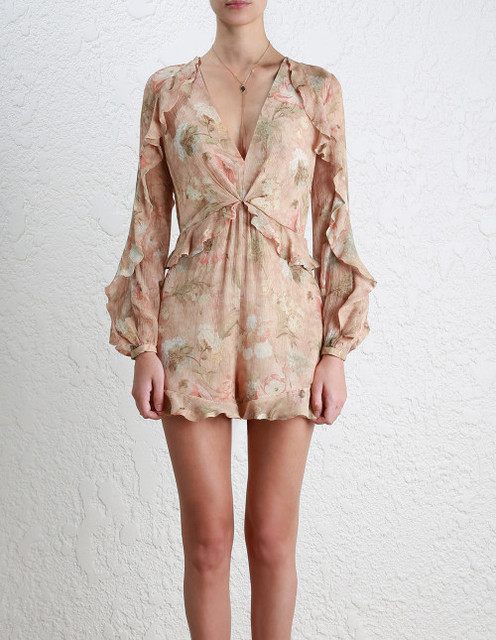 156fcb676051 Women Bowerbird Flounce Playsuit V-neck Ruffle Floral Print Silk Playsuits  Beautiful Long Sleeves Silk