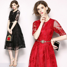 Womens summer fashion slim short-sleeved lace dress temperament elegant party (gift belt)