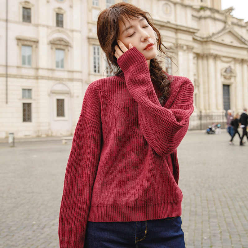 INMAN Frühling Herbst Rollkragen Rotatorische manschette Baumwolle Elegante Alle Abgestimmt Einfarbig Pullover Frauen