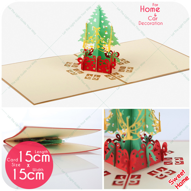 10pcslot christmas greeting card xmas tree cards 3d laser cut 10pcslot christmas greeting card xmas tree cards 3d laser cut handmade for natal party stopboris Images
