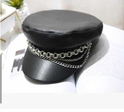 Modny kapelusz wojskowy Link łańcuchy wiosna marynarz kapelusz dla kobiet mężczyzn czarne płaskie góry kobiet podróży kadetów kapelusz kapitan czapka