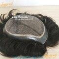 4 В Beautie Индивидуальные шелковый базы мужские тупею с небольшим волны, без сучков волос протезы, натуральной кожи система замены волос