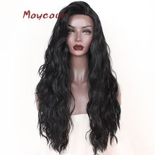 Maycaur Long Wavy Synthetic Lace Front Wig Free Part Black G