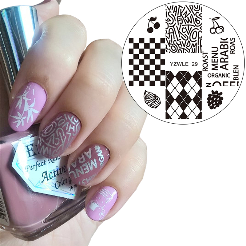 YZWLE 2017 New Nail Beauty Stamping Plates Lattice Letters Designs ...